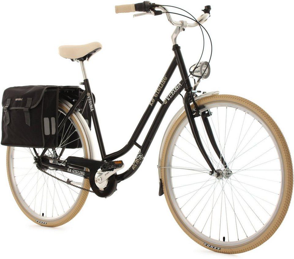 KS Cycling Damen-Cityrad, 28 Zoll, schwarz, 7 Gang Shimano Nexus, inkl. Doppelpacktasche, »Verona« in schwarz