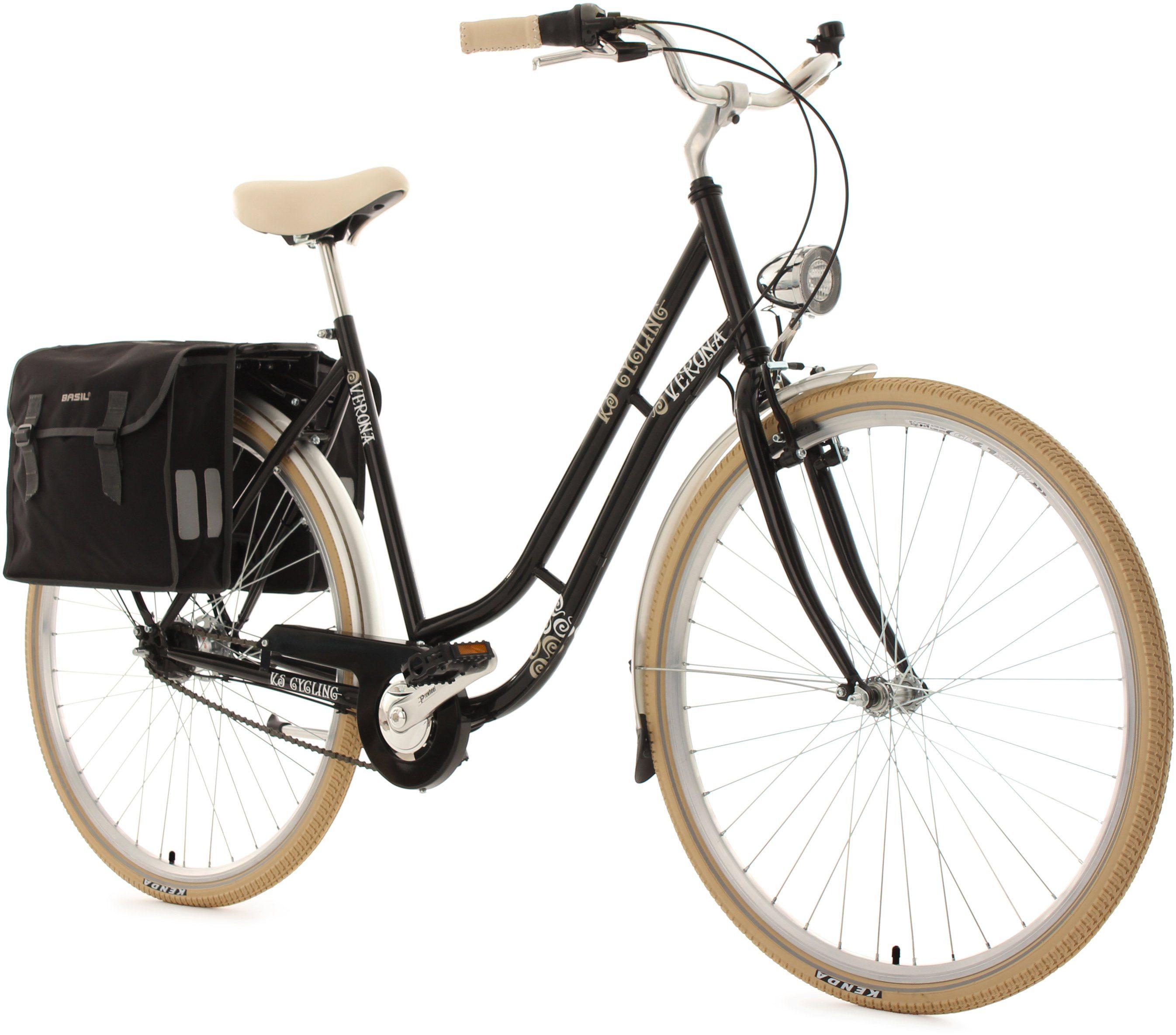 KS Cycling Damen-Cityrad, 28 Zoll, schwarz, 7 Gang Shimano Nexus, inkl. Doppelpacktasche, »Verona«