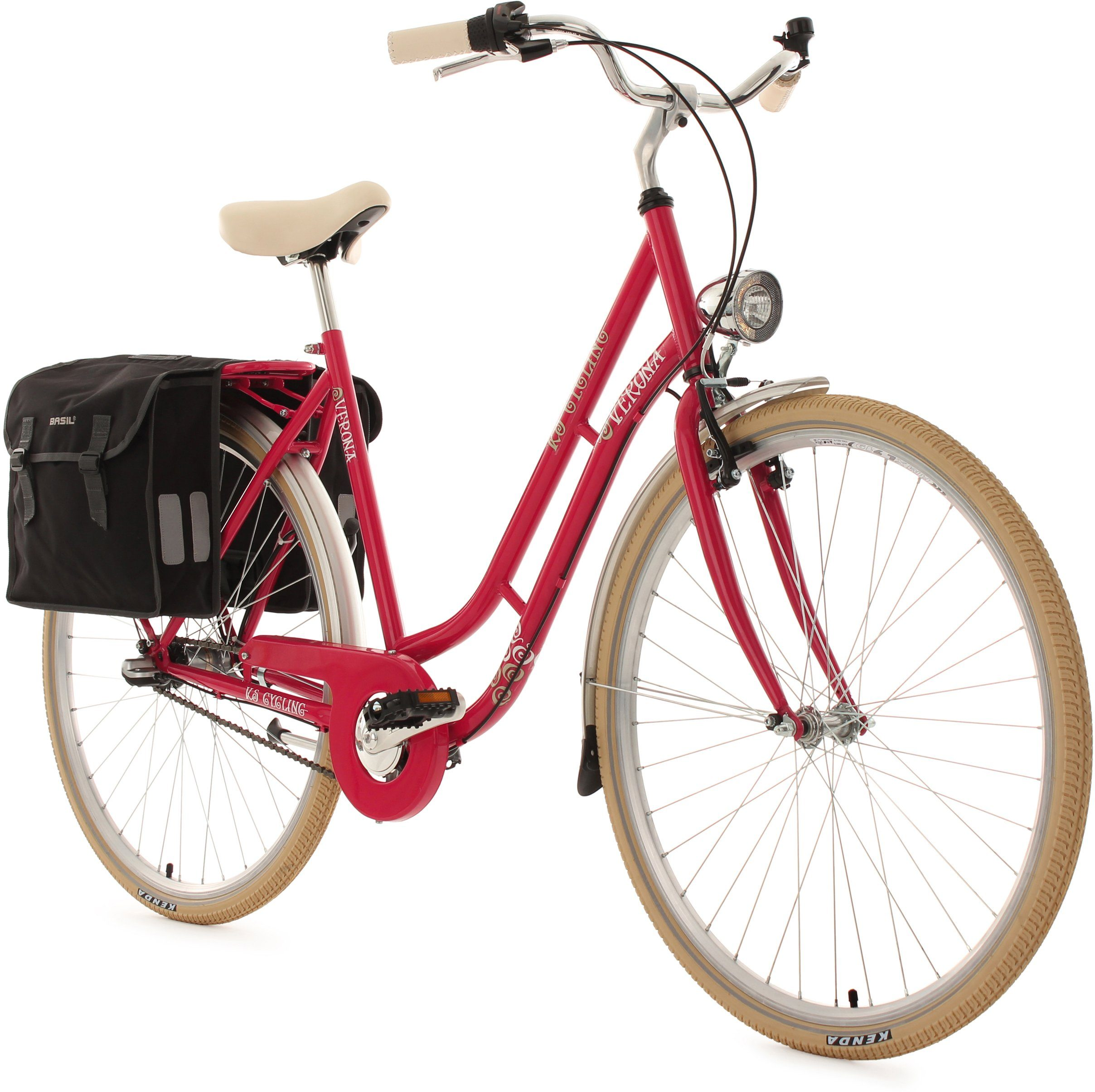 KS Cycling Damen-Cityrad, 28 Zoll, 3 Gang Shimano Nexus, inkl. Doppelpacktasche, »Verona«