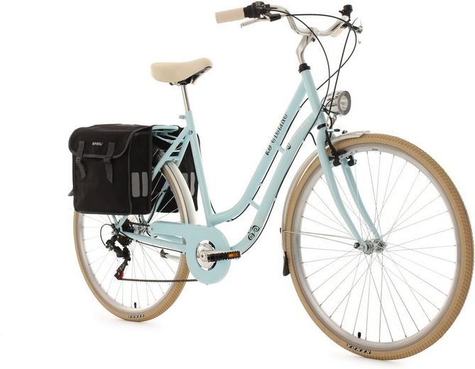 KS Cycling Cityrad »Verona«, 6 Gang Shimano Tourney Schaltwerk, Kettenschaltung, (Set, mit Doppeltasche)