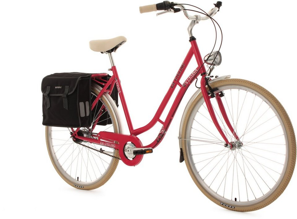 KS Cycling Damen-Cityrad, 28 Zoll, 7 Gang Shimano Nexus, inkl. Doppelpacktasche, »Verona« in himbeerrot