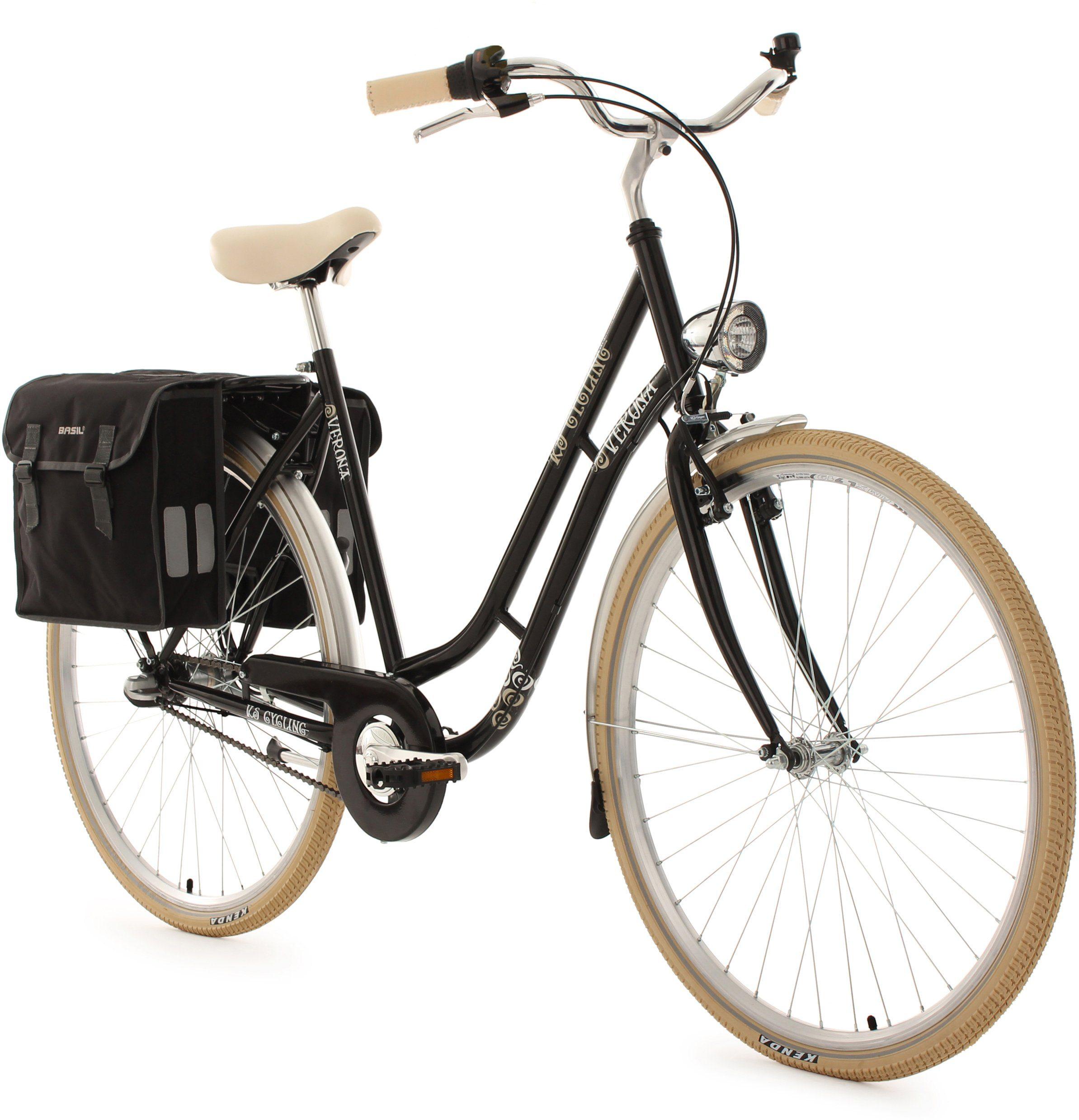 KS Cycling Cityrad »Verona«, 3 Gang, Nabenschaltung, (Set, mit Doppeltasche)