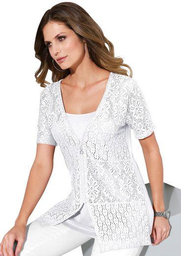 Lady 2-in-1-Shirtjacke mit blickdicht unterlegter Spitze