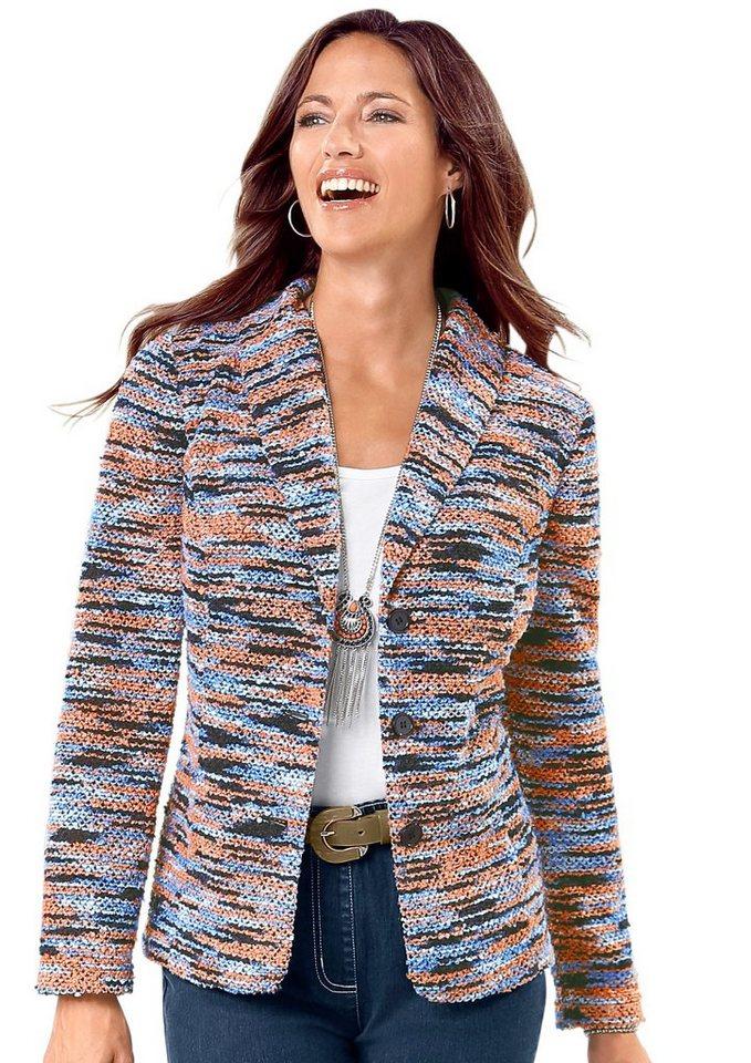 Damen Classic Basics Blazer aus effektvollem Bouclé-Garn rot | 04713057070259