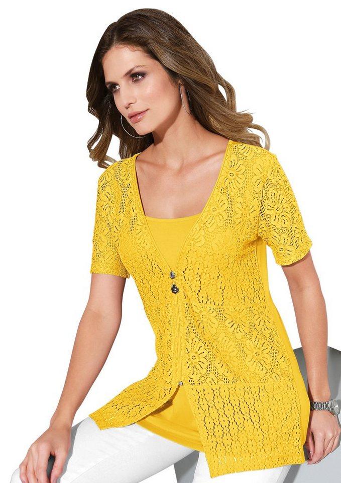 Lady 2-in-1-Shirtjacke mit blickdicht unterlegter Spitze | Bekleidung > Shirts > 2-in-1 Shirts | Gelb | Lady