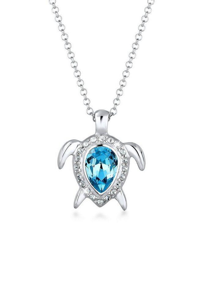 Elli Halskette »Schildkröte Meer Swarovski® Kristalle 925 Silber« in Silber