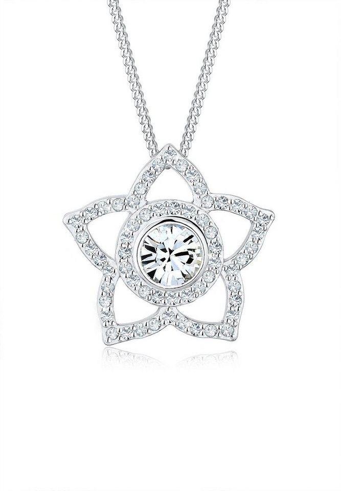 Elli Halskette »Blume Chakra Swarovski® Kristalle 925 Silber« in Silber
