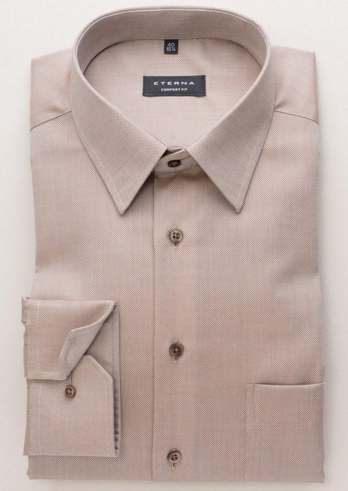 ETERNA Langarm Hemd »COMFORT FIT« in beige/braun