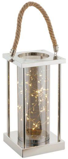 LED Laterne, mit Kordel aus Metall, Höhe ca. 45 cm