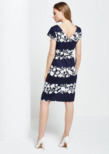 COMMA Schönes Abendkleid mit Floralprint in Two-Tone Optik