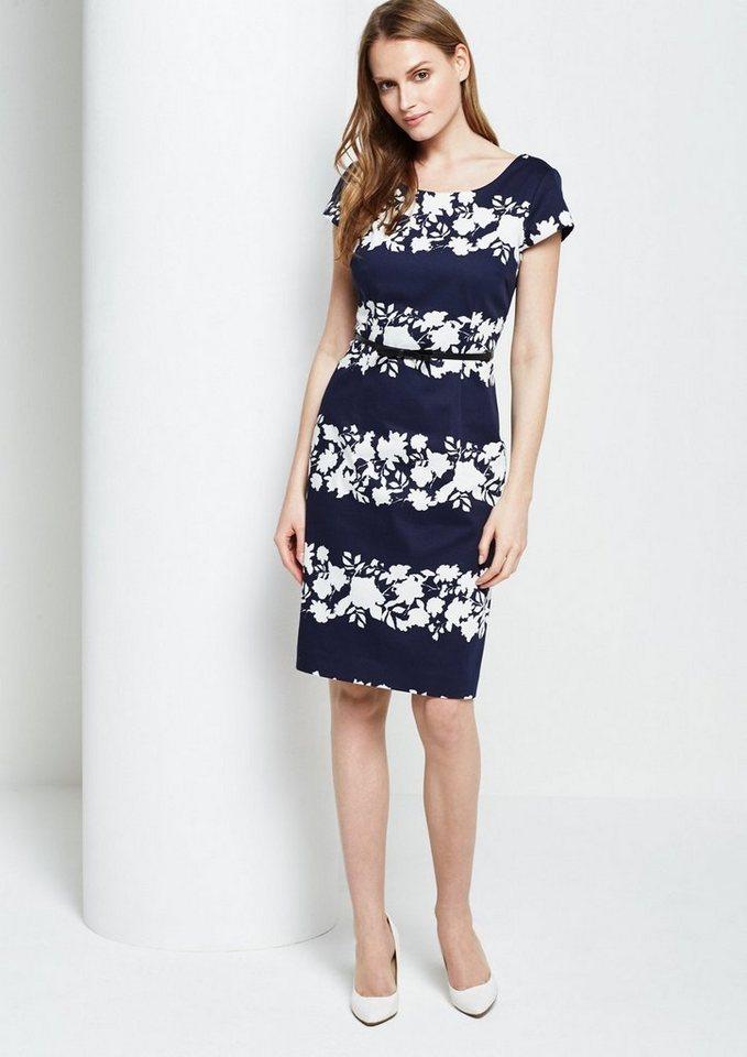 COMMA Schönes Abendkleid mit Floralprint in Two-Tone Optik in blue placed shadow f