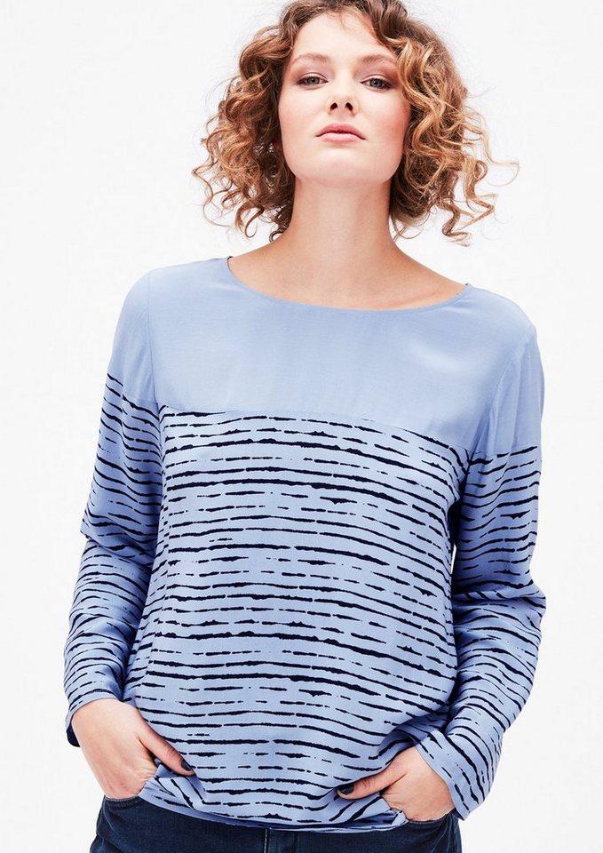 TRIANGLE Bluse mit Batik-Streifen in cloud blue