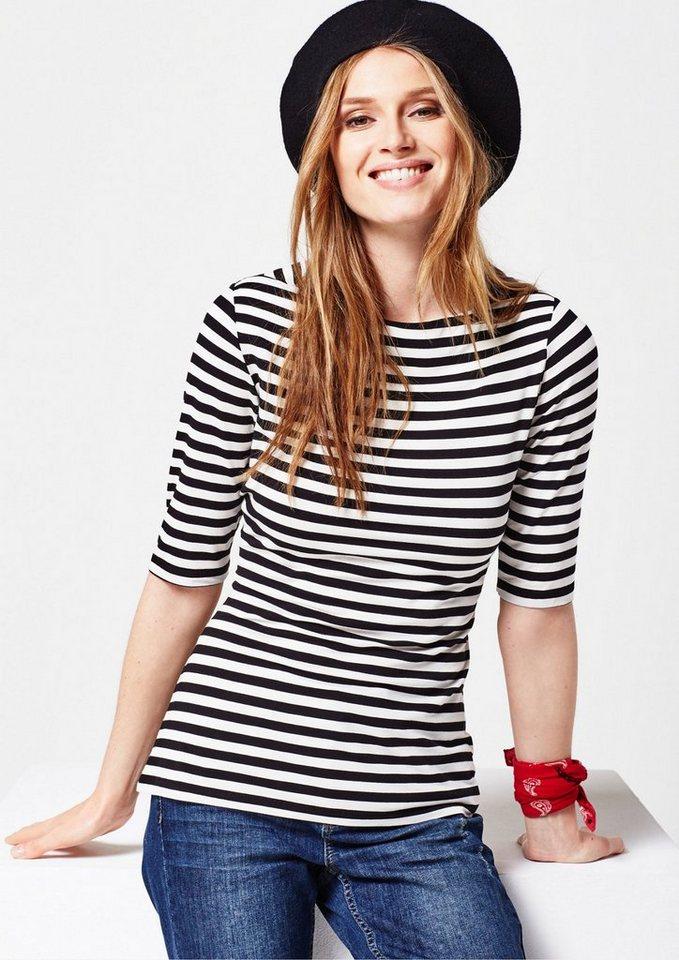 COMMA Lässiges Jerseyshirt mit klassischem Streifenmuster in black jersey stripe
