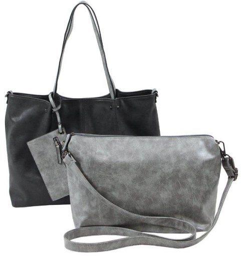 Emily und Noah Shopper mit herausnehmbarer Innentasche in schwarz-grau-used
