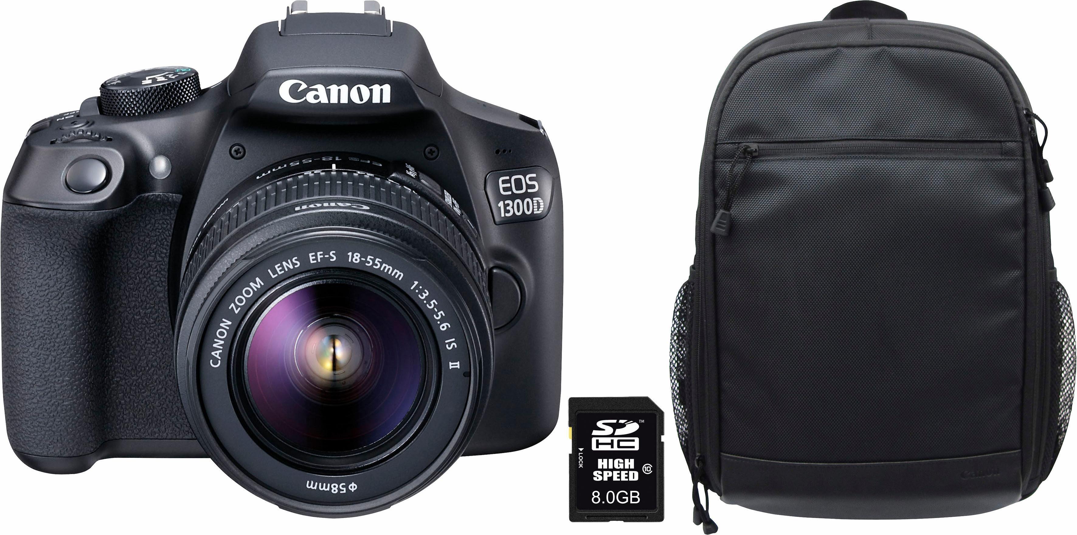 Canon »1300D 18-55 IS« Spiegelreflexkamera (EF-S 18-55mm IS II, 18 MP, NFC, WLAN (Wi-Fi), Outdoor-Modus, High-Speed-Modus)