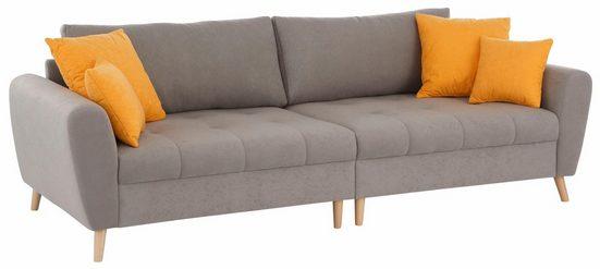Home affaire Big-Sofa »Jordsand«, mit feiner Steppung und vielen losen Kissen