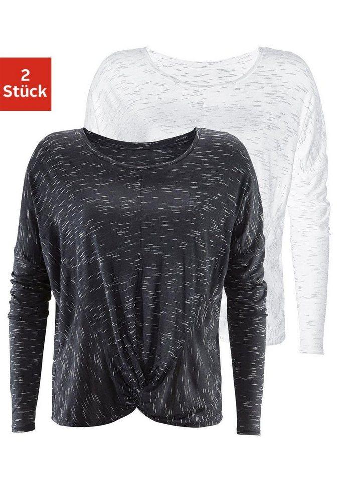 LASCANA Langarmshirt (2 Stück) in schwarz + weiß