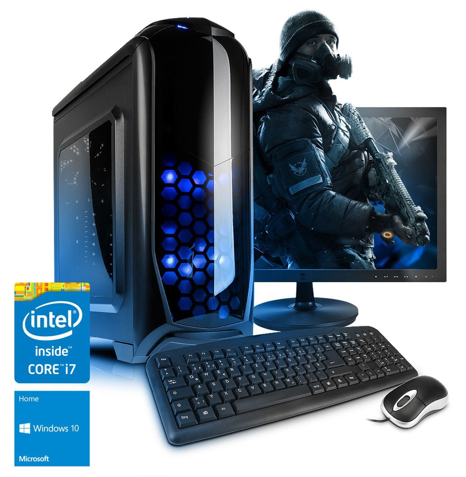VCM Gaming PC Set / Intel Core i7-7700 »GeForce GTX 1060, 3 GB 16 RAM Windows 10 «