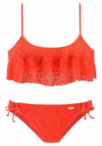 Damen Buffalo Bustier-Bikini mit modischen Rüschen aus Strukturware rot | 08436037093456