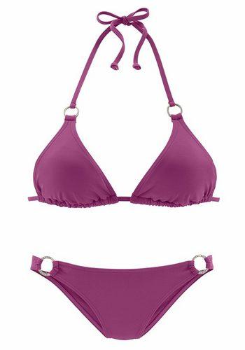 Damen Chiemsee Triangel-Bikini mit Zierringen an Cup und Hose rosa | 04893848131304