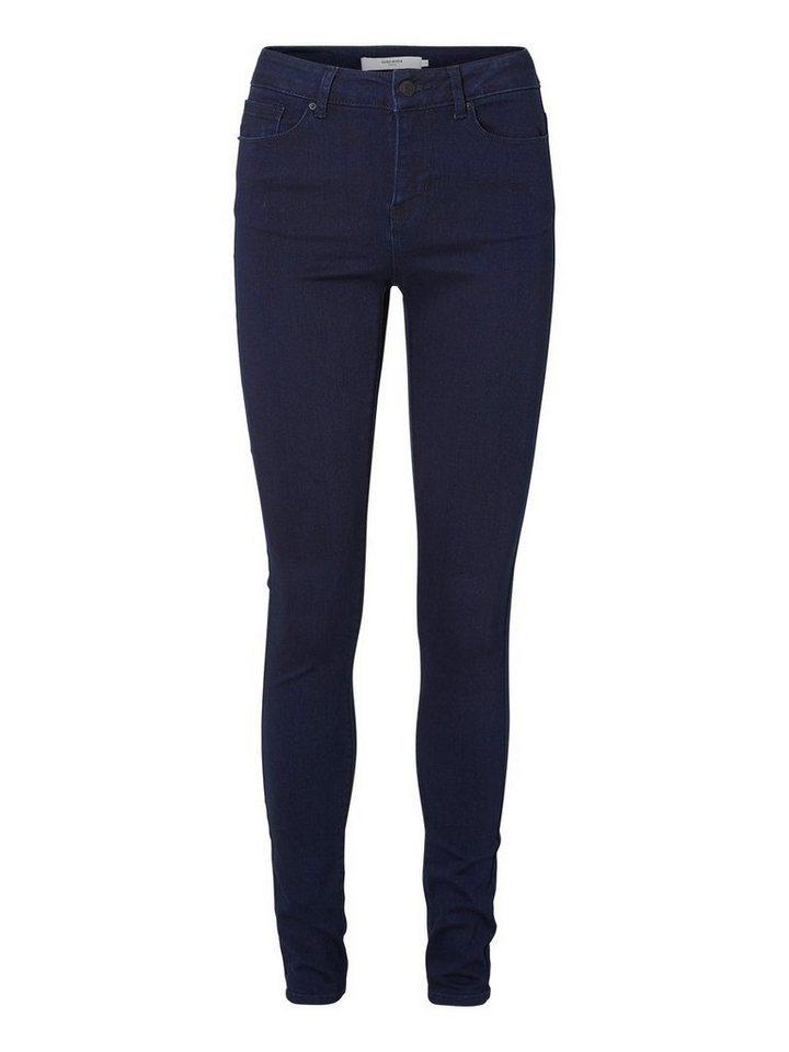 Vero Moda Seven NW Glatte Jeggings in Dark Blue Denim