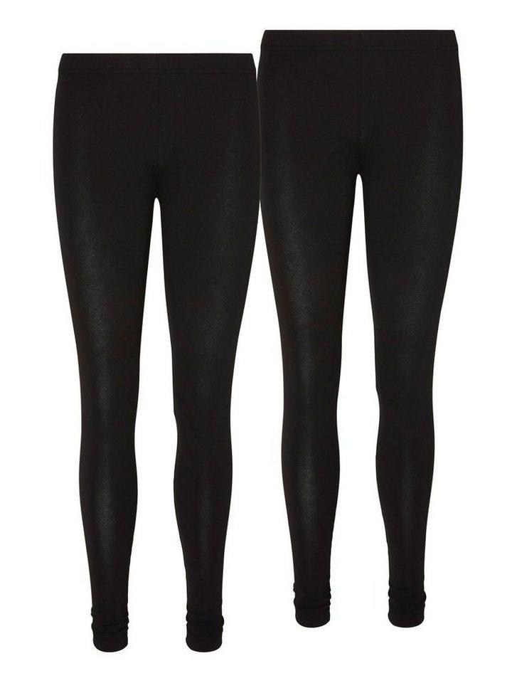 Vero Moda 2-Pack Long Legged Leggings in Black
