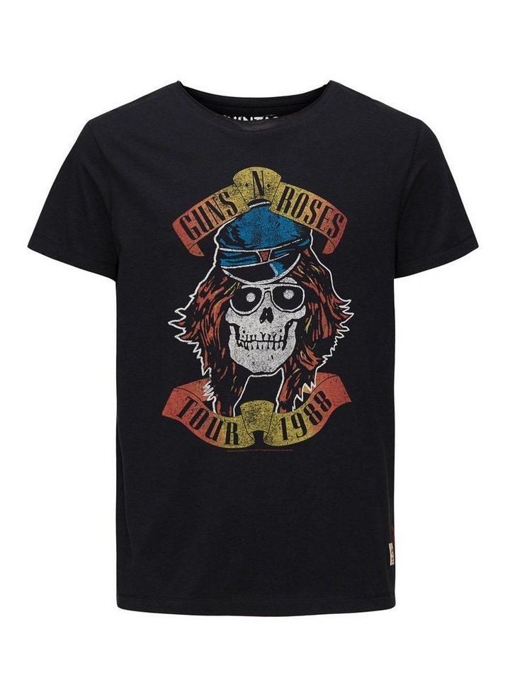 Jack & Jones Guns N' Roses-bedrucktes T-Shirt in Caviar