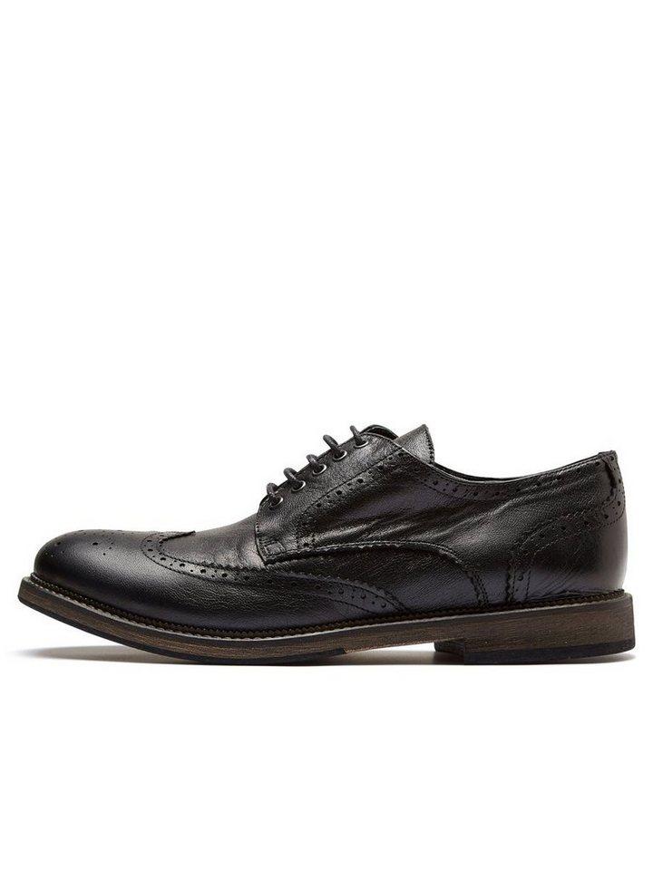 SELECTED Leder- Brogue-Schuhe in Black