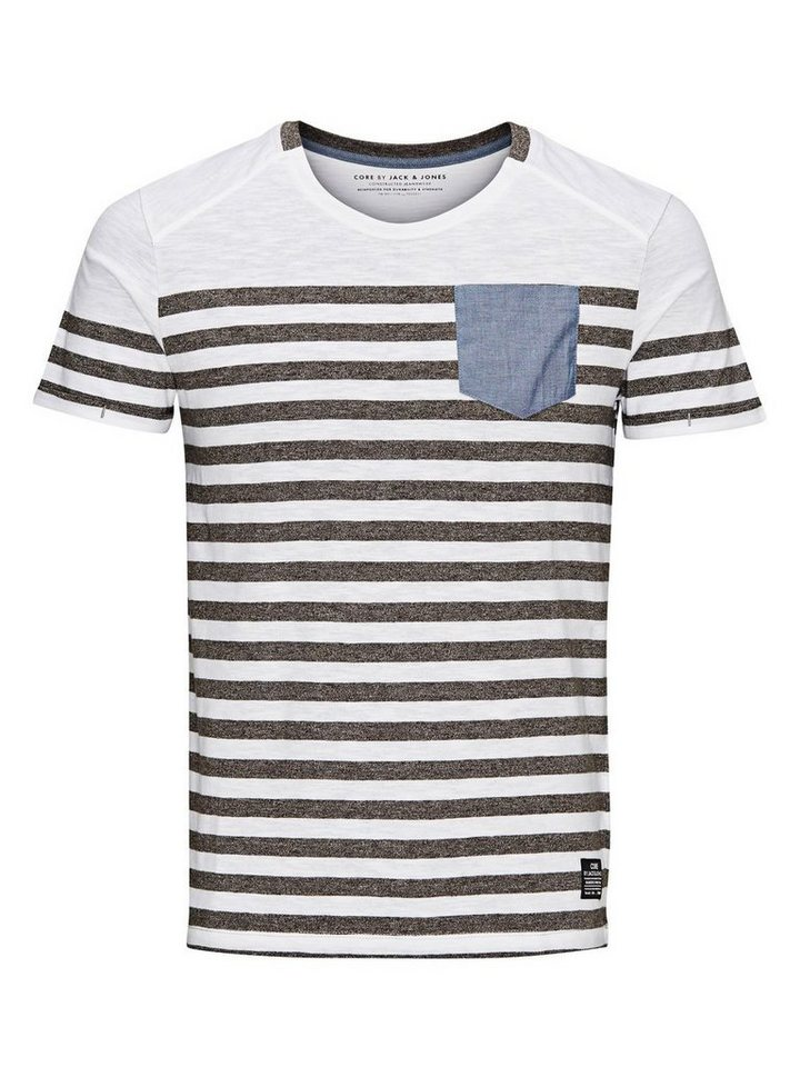 Jack & Jones Gestreift T-Shirt in Grey Melange 2