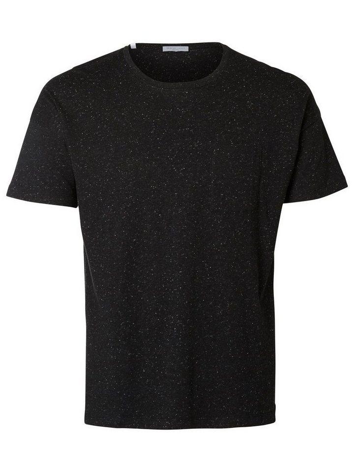 SELECTED Rundausschnitt- T-Shirt in Black