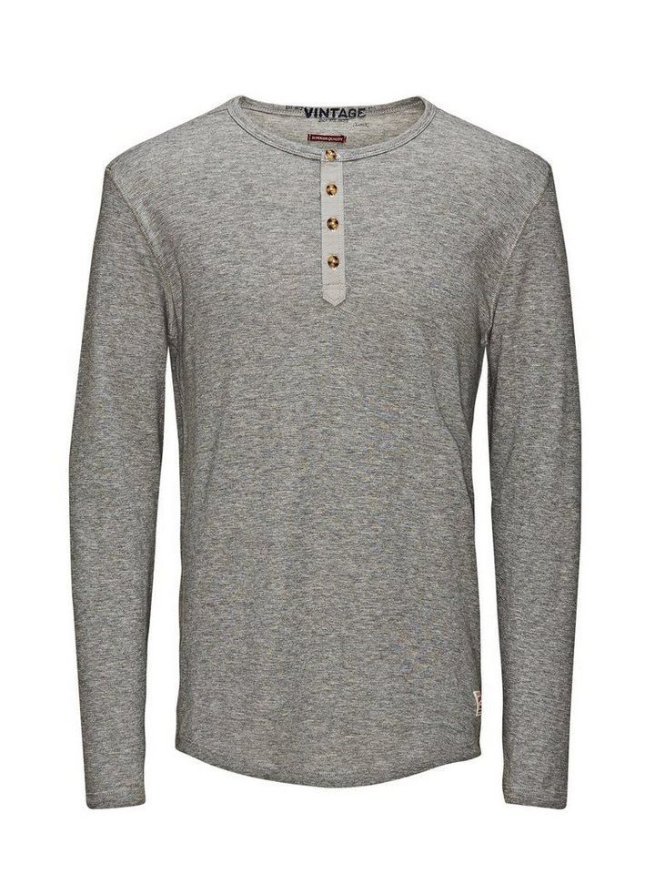 Jack & Jones Grandad- T-Shirt mit langen Ärmeln in LIGHT GREY MELANGE
