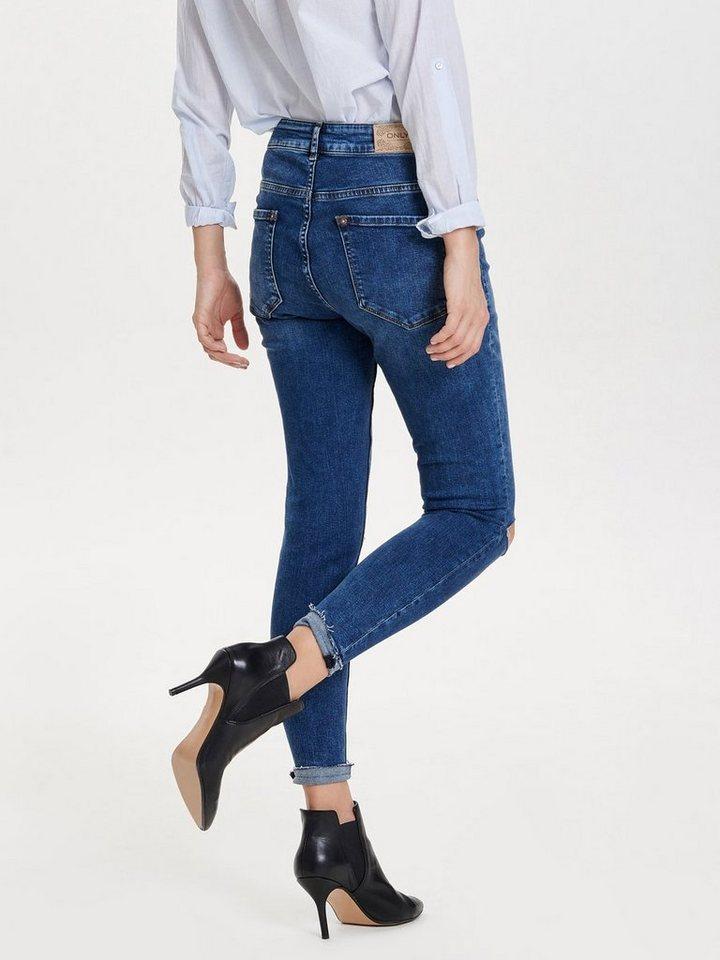 Only Coral High Knieschnitt-Knöchel- Skinny Fit Jeans in Medium Blue Denim