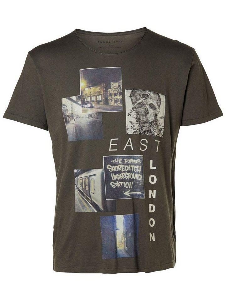 SELECTED Bedrucktes T-Shirt in GUNMETAL