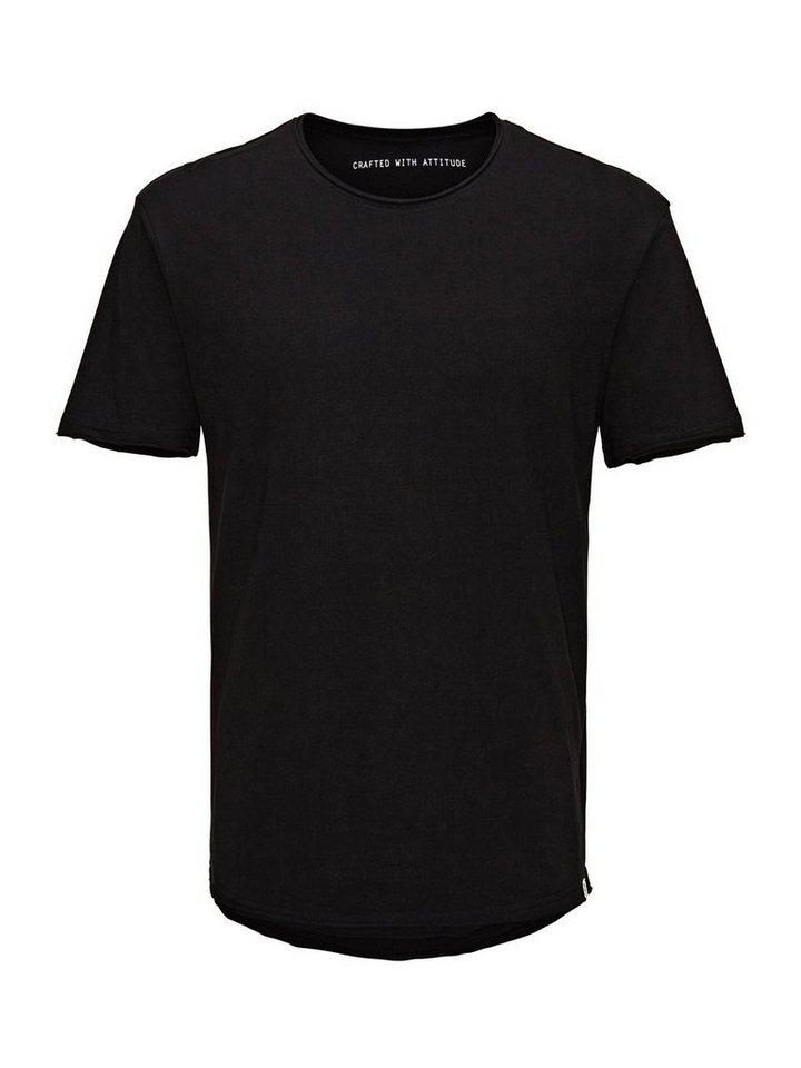 Jack & Jones Einfarbiges Long-Fit- T-Shirt in Black