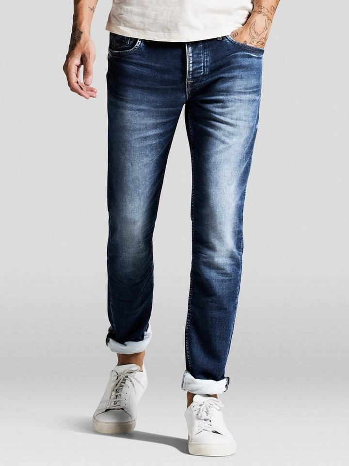 Jack & Jones Tim Leon Indigo-Strick Slim Fit Jeans in Blue Denim