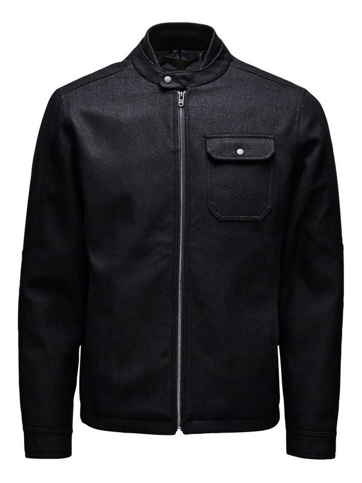 Jack & Jones Wollmix-Herringbone- Jacke in DARK NAVY.