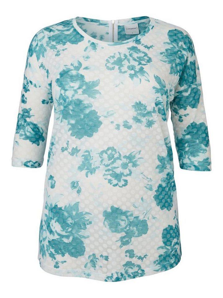 JUNAROSE Blumendruck Bluse mit 3/4 Ärmeln in Green-Blue Slate