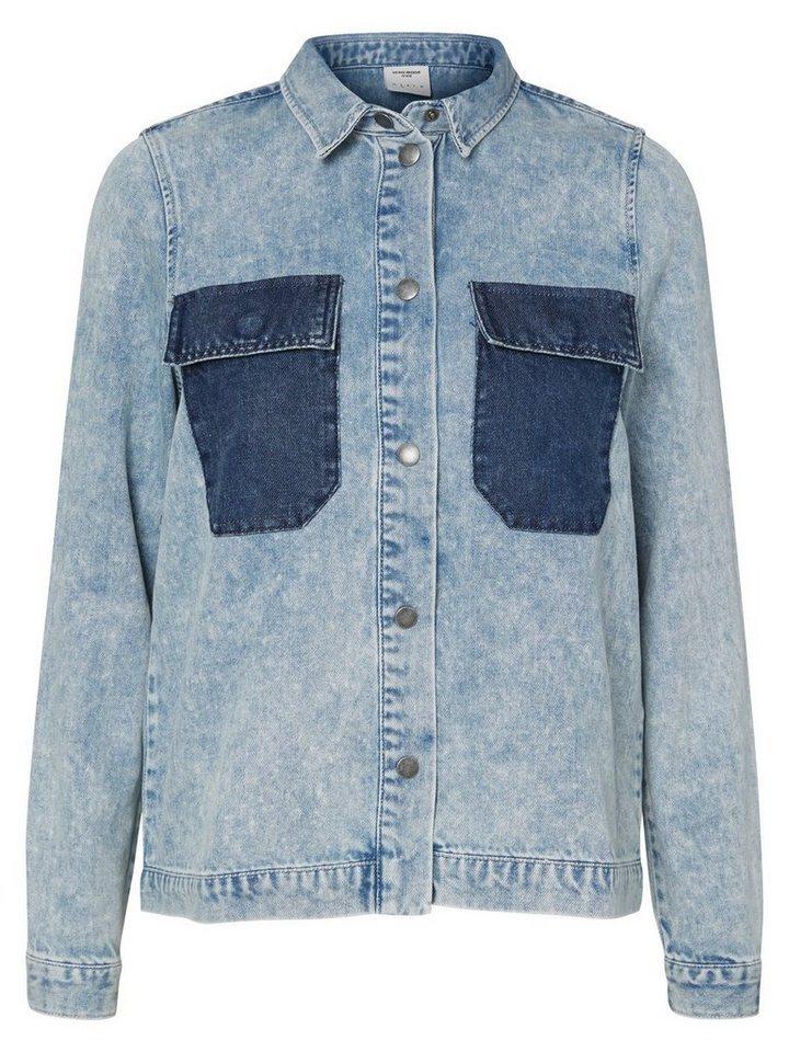 Vero Moda Langärmeliges Jeanshemd in Light Blue Denim