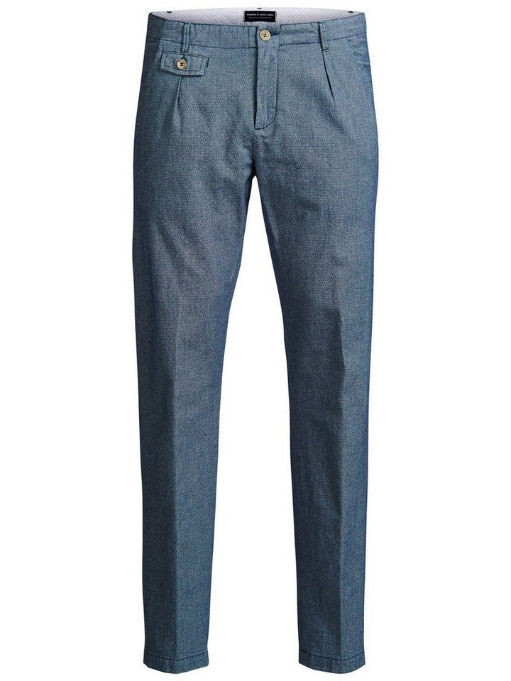 Jack & Jones Gemusterte, taillierte Hose in DARK NAVY.
