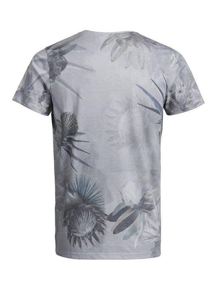 Jack & Jones Blumen-Print T-Shirt in Egret