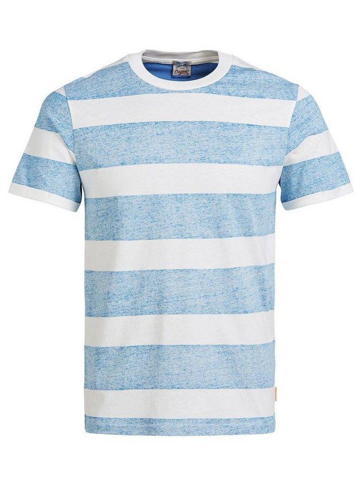 Jack & Jones Gestreiftes T-Shirt in Mykonos Blue