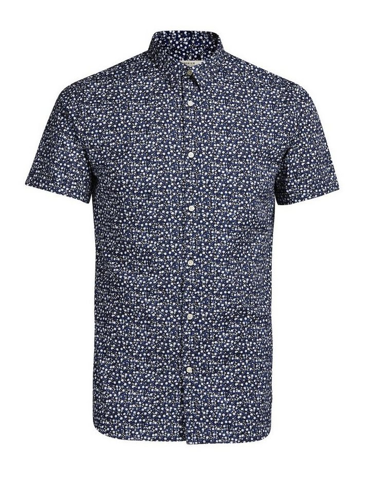 Jack & Jones Micro-Floralprint Kurzarmhemd in Navy Blazer