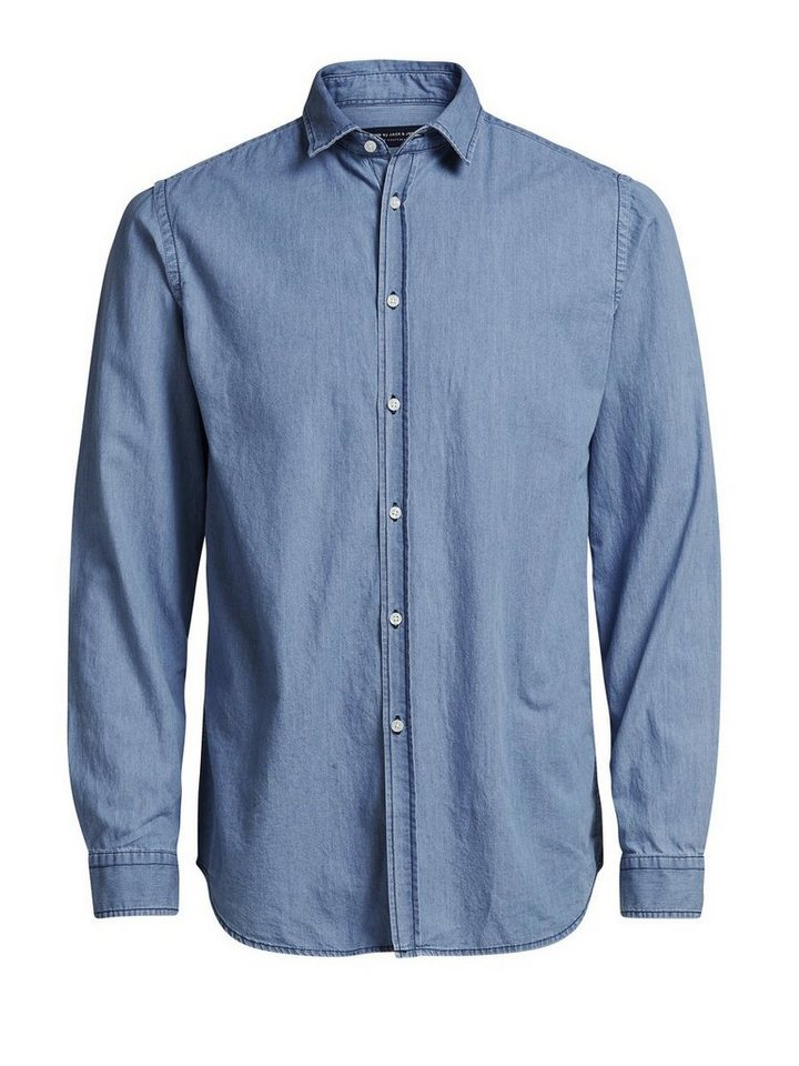 Jack & Jones Minimal-Jeans- Langarmhemd in Light Blue Denim