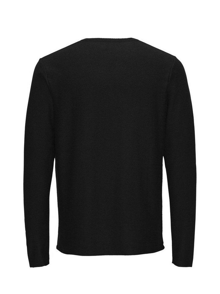Jack & Jones Raues T-Shirt mit langen Ärmeln in Black