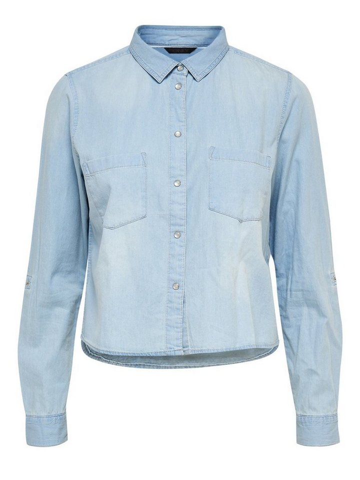 Only Kurz geschnittenes Jeanshemd in Light Blue Denim