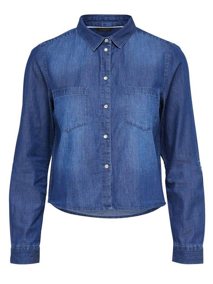Only Kurz geschnittenes Jeanshemd in Dark Blue Denim