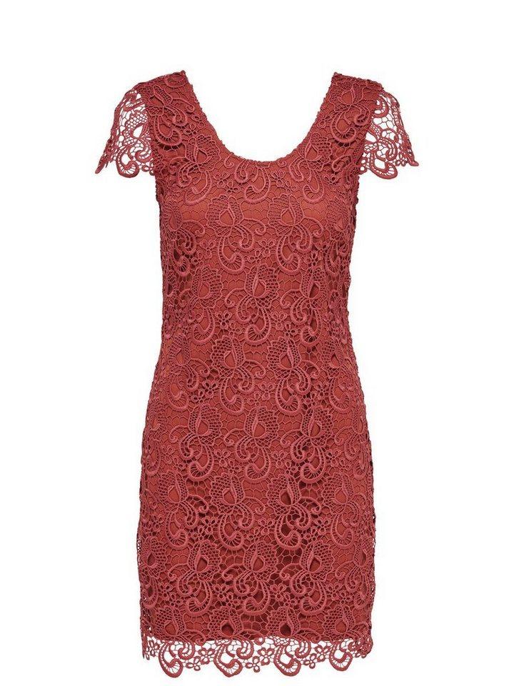 Only Spitzen- Kleid mit kurzen Ärmeln in Marsala