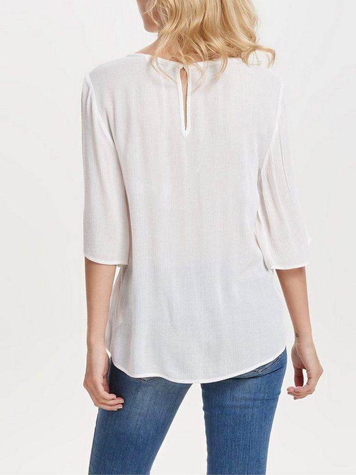 Only Detaillierte Bluse mit 2/4 Ärmeln in WHISPER WHITE.