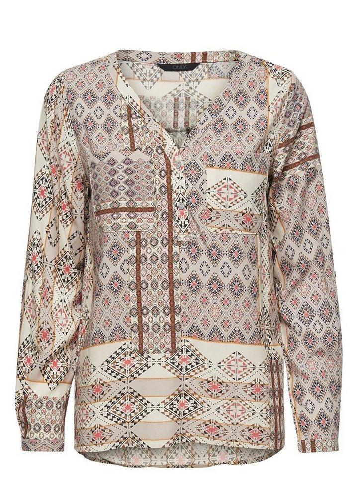 Only Bedrucktes Langarmhemd in BONE WHITE
