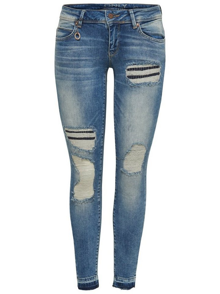 Only Coral sl repair ankle Skinny Fit Jeans in Medium Blue Denim